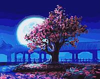 Картина по номерам без коробки Лунная сакура (BK-GX5376) 40 х 50 см