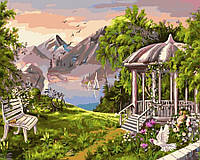 Картина раскраска по номерам без коробки Уютная беседка (BK-GX9520) 40 х 50 см