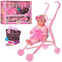 Пупс 60665-T03 37 см, мягконабивная, коляска 42-55-25 см, сумка, расческа, зеркало, в коробке, 60-41-15 см