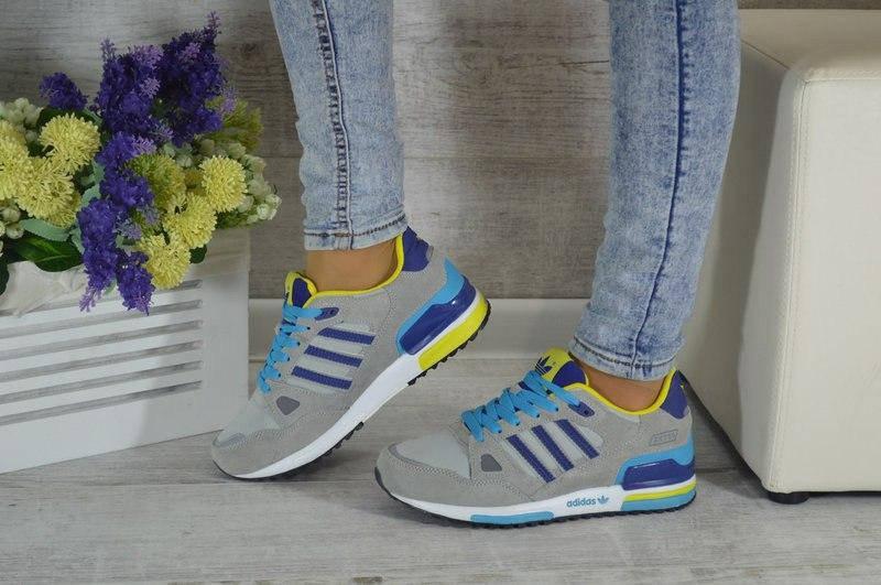 Женские кроссовки Adidas ZX750 серые с желтым и синим (реплика)