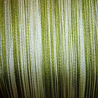 Шторы нити радуга  (белый +салат+оливка)