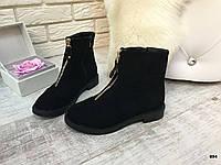 Замшевые женские ботинки весна -осень черные эко- замш