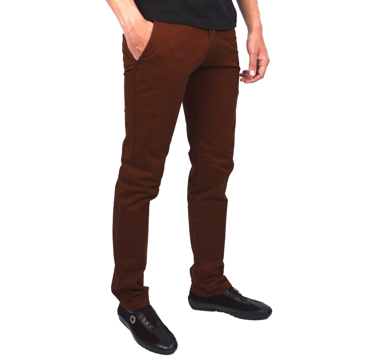 Рыжие однотонные мужские джинсы чинос FORKY