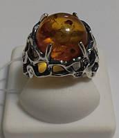 Серебряное массивное кольцо с янтарем Бурштын