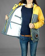 Зимняя женская куртка парка Olymp желто - серая