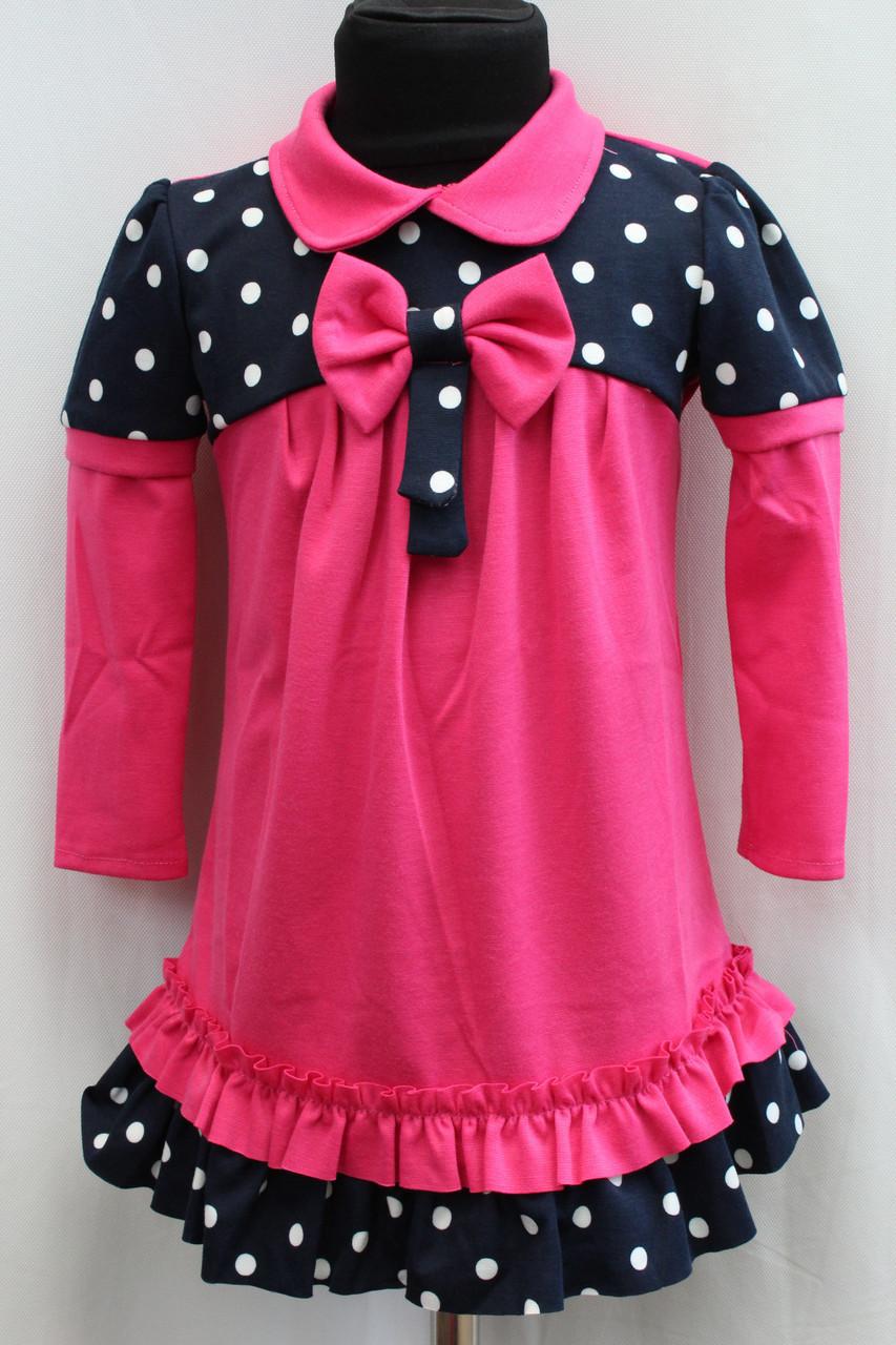 Детское платье малинового цвета в белый горох на темно синем фоне возраст от 3 до 6 лет