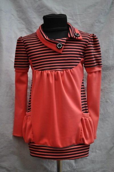 Детская туника кораллового цвета с двумя карманами возраст от 5 до 8 лет