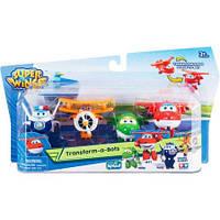 Игровой набор Супер крылья Джетт и его друзья Самолеты-трансформеры  Super Wing Mini Transform-A-Bot 4 Pack A