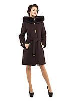 Пальто зимнее женское кашемировое M-152-11-Z-M Темно-коричневый