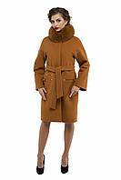 Пальто женское зимнее 2016 кашемировое M-150-22-Z-M Горчица