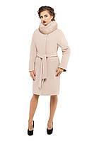 Пальто женское зимнее с мехои M-147-09-Z-M Светлый беж