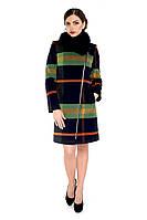Пальто женское кашемировое зимнее,магазин пальто М-131-RC-Z-М  Клетка зеленая
