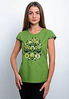 Блуза вышитая зеленного цвета с цветами, арт. 4173