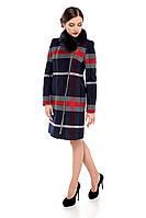 Пальто женское кашемировое зимнее,магазин пальто М-131-BC-Z-М  Клетка синяя