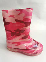 Детские резиновые/силиконовые сапоги для девочек розовые в цветочек 26,27,28,29,30,31р.