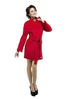 Драповое пальто женское M-147-08-D-SH Бордо