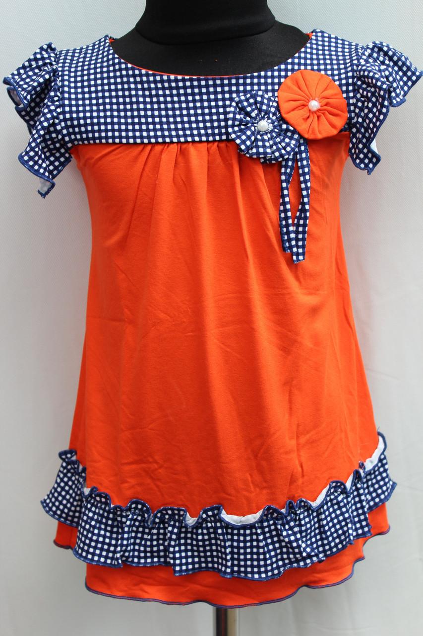 Детское летнее платье морковного цвета в мелкую бело синию клетку возраст от 3 до 6 лет