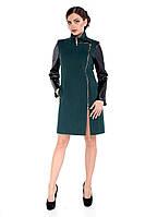 Пальто демисезонное женское модное из кашемира M-132-17-D Темно-зеленый