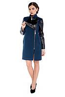 Пальто демисезонное женское модное из кашемира M-132-21-D Темный изумруд
