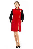 Пальто демисезонное женское модное из кашемира M-132-01-D красное