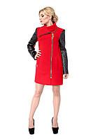 Пальто женское кашемировое с рукавами из кожзама M-128-01-D красное