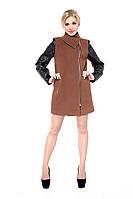 Пальто женское кашемировое с рукавами из кожзама М-128-06-D Горчица