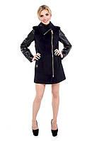 Пальто женское кашемировое с рукавами из кожзама М-128-10-D Темно-синий