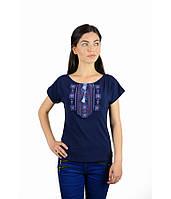 Футболка вишита жіноча. Футболка темно-синього кольору з вишивкою. Вишиті  футболки жіночі. 25e6e71001398