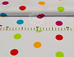 Ткань польская с разноцветным горошком (размером 23 мм) на белом фоне, № 918, фото 3