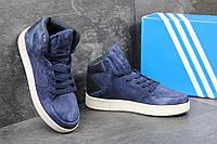 Женские замшевые кроссовки Adidas Tubular Invader темно-синие - 150-1590