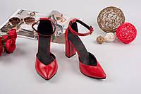 Элегантные женские туфли натуральная кожа с ремешком, каблук 10 см, цвет красный