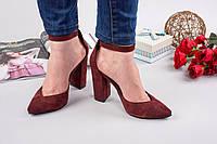 Элегантные женские туфли натуральная замша с ремешком, каблук 10 см, цвет бордовый