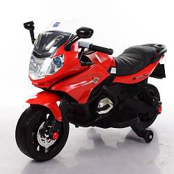 Детский электрический мотоцикл M 3571 EL-3, мягкие колеса и кожаное сиденье