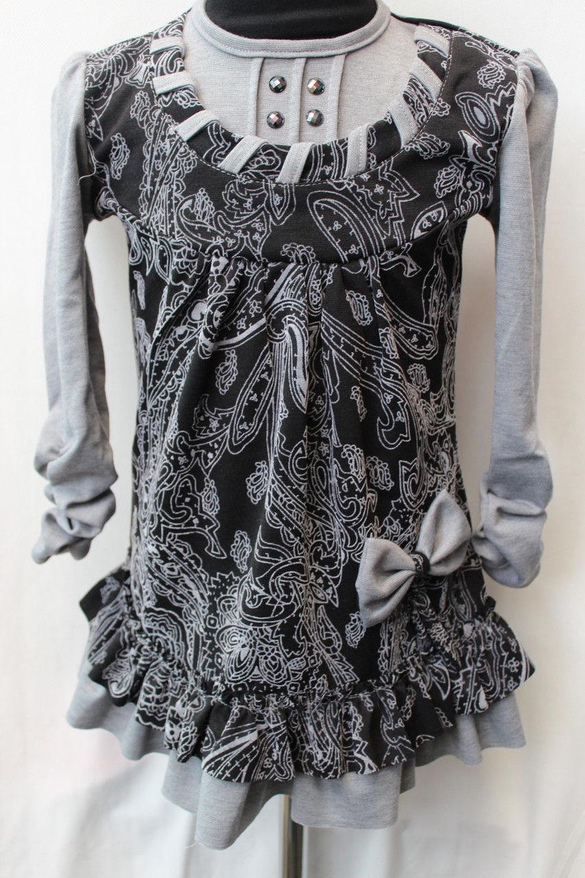 Детское платье серого цвета с пуговицай на спине от 3 до 6 лет