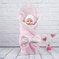 """Конверт весенний + шапка под конверт на выписку """"Винтаж"""" розовый"""