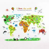 """Вінілова наклейка """"Карта світу для дітей"""" №2"""