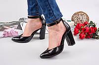 Элегантные женские туфли натуральная кожа (рептилия) с ремешком, каблук 10 см, цвет черный