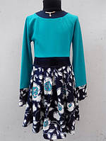 Детское платье морского цвета и длинным рукавом возраст от 4 до 7 лет