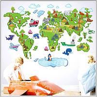 """Виниловая наклейка  """"Карта мира для детей"""" №3"""