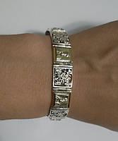 Мужской браслет из серебра 925 пробы и золотых пластин 375 пробы с изображением Николая Чудотворца