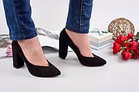 Элегантные женские туфли натуральная замша каблук 10 см, цвет черный