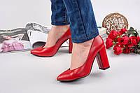 Элегантные женские туфли натуральная кожа каблук 10 см, цвет красный