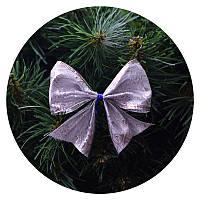 Бантик на елку (серебряная ткань с принтом снежинки)