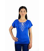 Футболка вишита жіноча. Футболка синього кольору з вишивкою. Вишиті футболки жіночі.