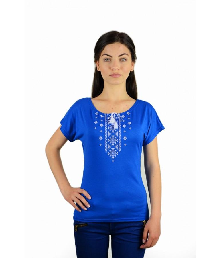 Футболка вишита жіноча. Футболка синього кольору з вишивкою. Вишиті футболки жіночі. - Интернет-магазин  в Киеве