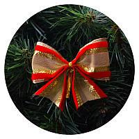 Бантик на елку (бархатная ткань с золотой сеткой)