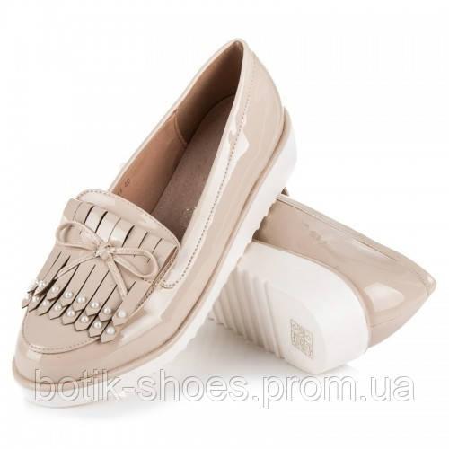 5a7d8331c03f Женские модные удобные бежевые туфли на танкетке, лоферы эко-лак Vices -  интернет-