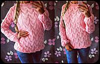 Свитер женский вязаный, материал - шерсть с акрилом, цвет - розовый