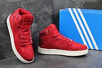 Женские замшевые кроссовки Adidas Tubular Invader красные - 150-1591