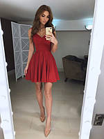 Замшевое красивое платье приталенное с пышной юбкой